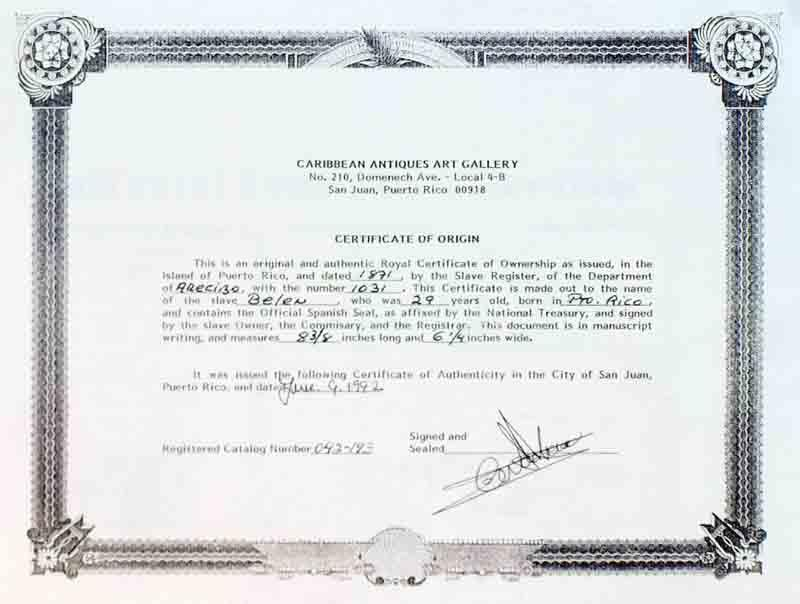 Royal Certificate of Ownership; Slave Document No. 1031 (Puerto Rico ...