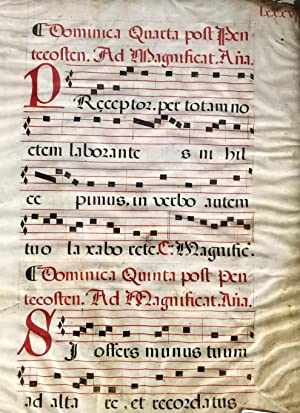 17th century Vellum Antiphonal Leaf: Unknown