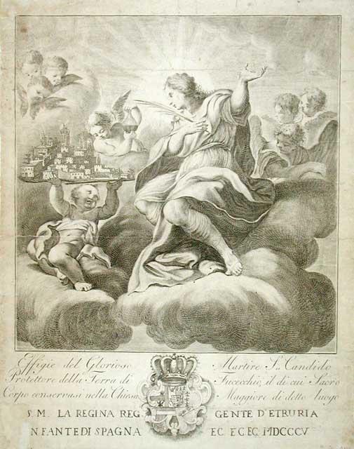 Effige del Glorioso Martire S. Candido / Protettore della Terra di Fucecchio, il di cui Sacro / Corpo conservasi nella Chiesa Maggiore di detto luogo