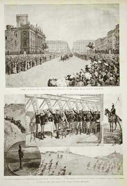 Torino - L'arrivo della Regina Maria Pia di Portogallo col Re Umberto Cornaglia dis.