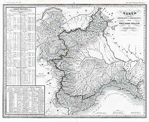 Carta Orografica e Idrografica degli Stati Sardi Italiani di Terraferma: Zuccagni - Orlandini edit....