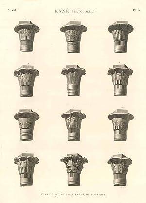 Esnè (Latopolis) - Vues de douse chapiteaux: Panckoucke C.L.F. edit.