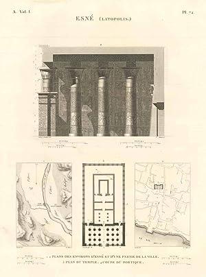 Esnè (Latopolis) - Plans des environs d'Esné: Panckoucke C.L.F. edit.
