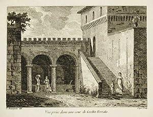 Vue prise dans une cour de Grotta-Ferrata: Bourgeois Constant dis.