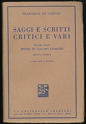 Saggi e scritti critici e vari -: De Sanctis Francesco
