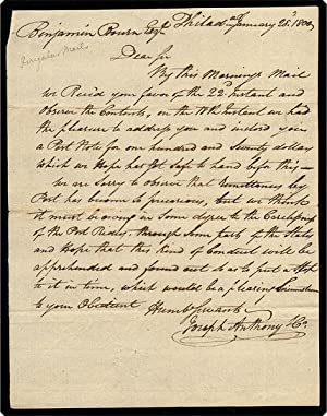 Autograph Letter Signed to Benjamin Bourne.: Joseph Anthony & Co.