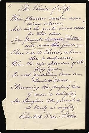 Autograph Manuscript Signed. ?The Venice of Life.? On paper.: Bates, Charlotte Fiske.