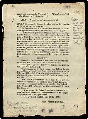 """Broadside, begins: """"Ministerio general del Gobierno del Estado del Salvador . La Asamblea ..."""