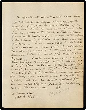 Autograph Sentiment Signed (with initials) for Isabella Walsh.: V[aux], R[oberts].