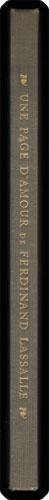 Une page d'amour de Ferdinand Lassalle. Recit - Correspondance - Confessions.: Lassalle, ...
