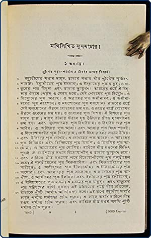 five lines in Bengali, then] The four Gospels, with the Acts of the Apostles, in Bengali.: Bible. ...