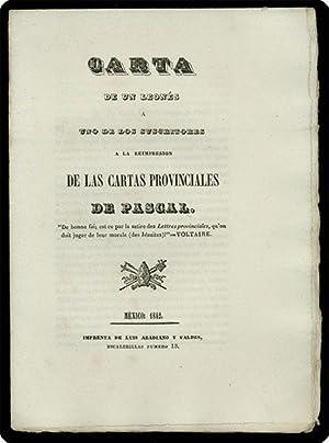 Carta de un leon?s a uno de los suscritores a la reimpresion de las Cartas provinciales de Pascal.:...