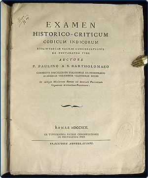 Examen historico-criticum codicum Indicorum Bibliothecae Sacrae Congregationis de Propaganda Fide.:...