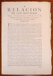 Relacion de los servicios del general Don Juan Eusebio Davalos, cavallero del orden de Alcantara, ...