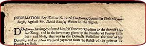 "Broadside. Begins: ""Information for William Nairn of Dunsinnan, commissar clerk of Edinburgh, ..."
