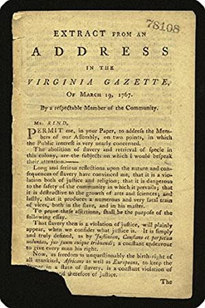 drop-title] Extract from an address in the Virginia Gazette, of March 19, 1767.: Lee, Arthur.