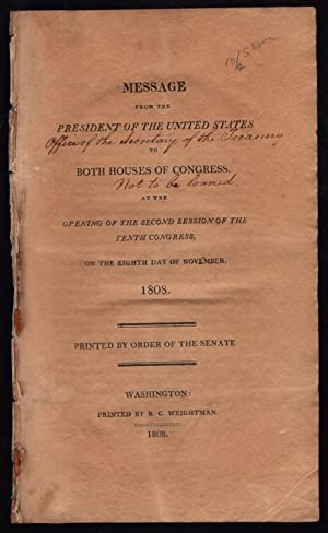 Message from the President of the United States to both houses of Congress at the opening of the ...