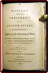 Message from the President of the United States, accompanying a report of the Secretary of State, ...