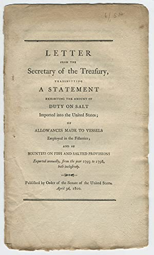 Letter from the Secretary of the Treasury, transmitting a statement exhibiting the amount of duty ...