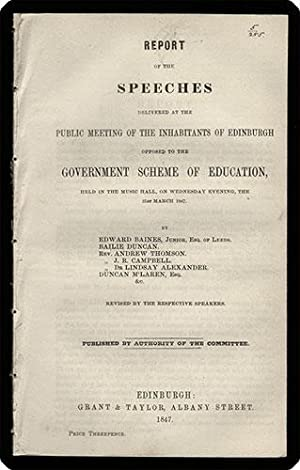 Report of the speeches delivered at the public meeting of the inhabitants of Edinburgh opposed to ...