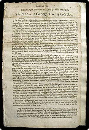 """Broadside. Begins: """"February 4th 1709. Unto the right honourable the Lords of Council and ..."""