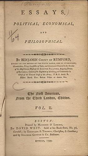 Essays, political, economical, and philosophical. . Vol. II.: Rumford, Benjamin, Graf von.