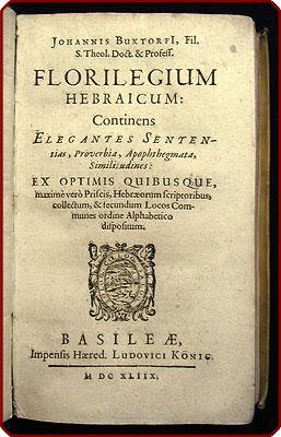 Florilegium Hebraicum: Continens elegantes sententias, proverbia, apophthegmata, similitudines .: ...