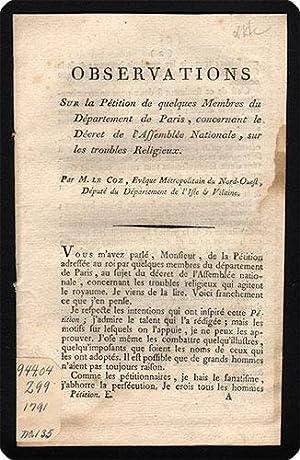 drop-title] Observations sur la p?tition de quelques membres du d?partement de Paris, concernant le...