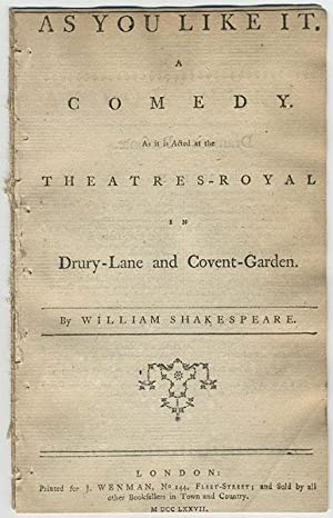 As you like it. A comedy. As it is acted at the Theatres-Royal in Drury-Lane and Covent-Garden.: ...