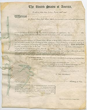 James Madison Signed Presidential Patent for Pendulum Pumps