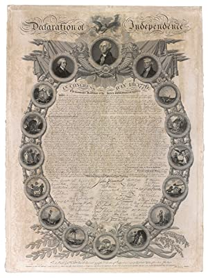 John Binns Scarce and Most Decorative Early 19th century (1819) Declaration of Independence Facsi...