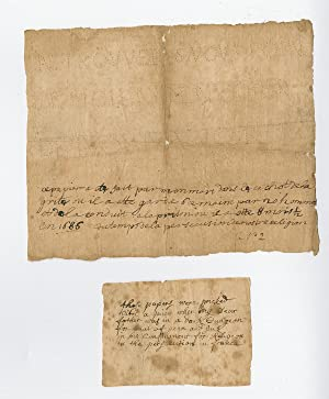 1686 Huguenot Protestant religious prisoner?s pin prick note, with notes of wife and child, and 1...