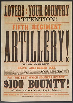Patriotic Appeal for Artillery Recruits at Beginning of Civil War