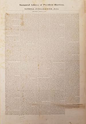 William Henry Harrison: Rare Broadside of the Deadly Inaugural Address