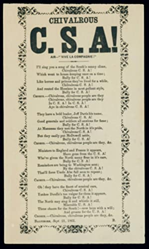 A Rare Broadside Song Sheet Promoting the Confederate Cause ? Issued From Baltimore