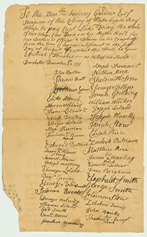 Massachusetts Militia Pay Petition Listing 27 Minutemen Who Responded to the Lexington Alarm: ...