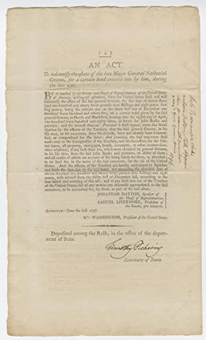 Secretary of State Pickering certifies five Acts of Congress relating to the Whiskey Rebellion, d...
