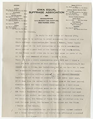 Two January 1914 Letters on Iowa Women?s Suffrage Measure Passing General Assembly