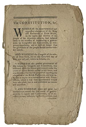 Extremely Rare 1777 New York State Constitution - the first edition in any form - and the Establi...