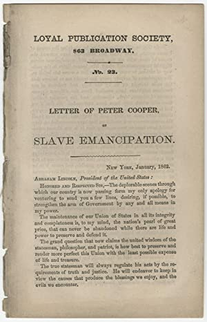Peter Cooper?s Letter to Lincoln Regarding Emancipation
