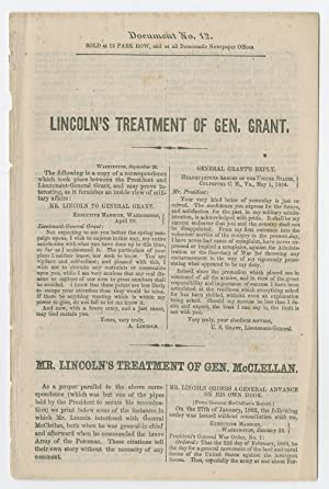 1864 Campaign Blames McClellan s Failures on Lincoln, Comparing the President s Treatment of McCl...