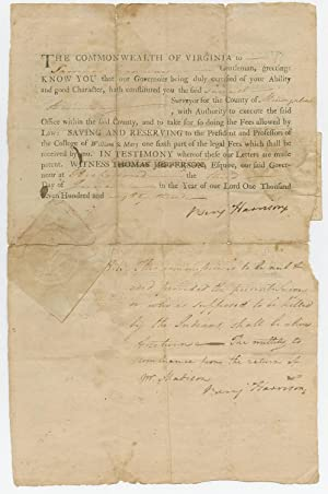 Declaration Signers Benjamin Harrison & George Wythe Appointing Surveyor Licensed by the College ...