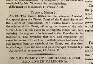 Amistad Slave Revolt Supreme Court Decision Announced