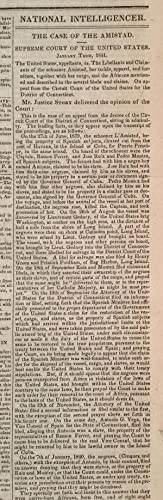 Amistad Slave Revolt Supreme Court Opinion, in Washington, D.C. Newspaper