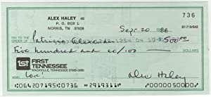 Alex Haley Signed Check