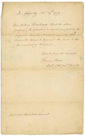 Thomas Paine Transmits Act For Resolution Of THOMAS PAINE 1737 1809