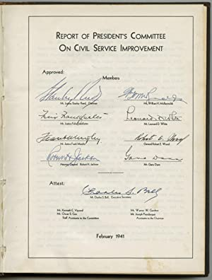 First Edition of FDR?s Committee for Civil Service Improvement Report, Signed by Three Supreme Co...