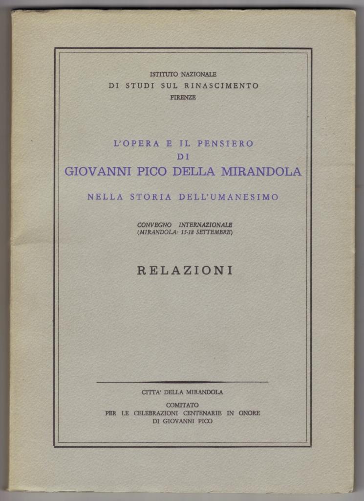 Giovanni Pico Della Mirandola, First Edition - AbeBooks