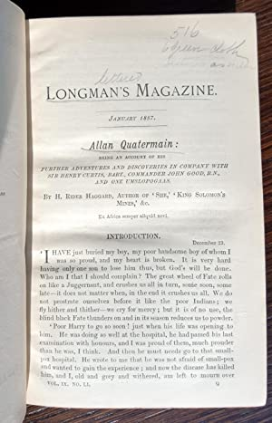 Allan Quatermain in Longman's Magazine: January through August 1887: H. Rider Haggard