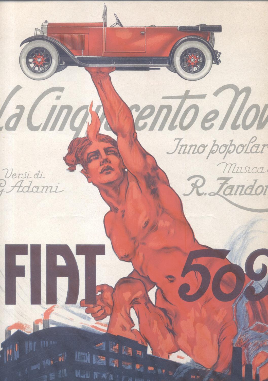 LA CINQUECENTO E NOVE: FIAT 509. Inno popolare per Canto e Pianoforte. Versi di Giuseppe Adami. Di ...